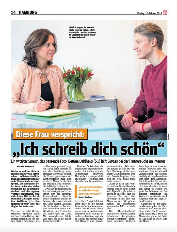 Partnersuche im Internet/MOPO/Die Herzschreiber